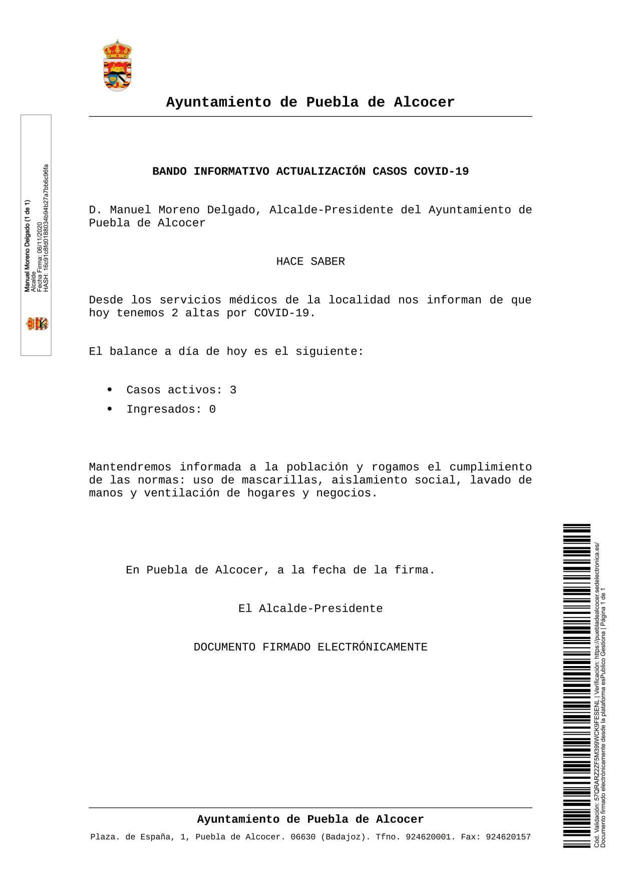2 altas de COVID-19 (noviembre 2020) - Puebla de Alcocer (Badajoz)