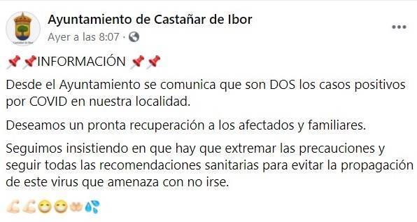 2 nuevos casos positivos de COVID-19 (noviembre 2020) - Castañar de Ibor (Cáceres)