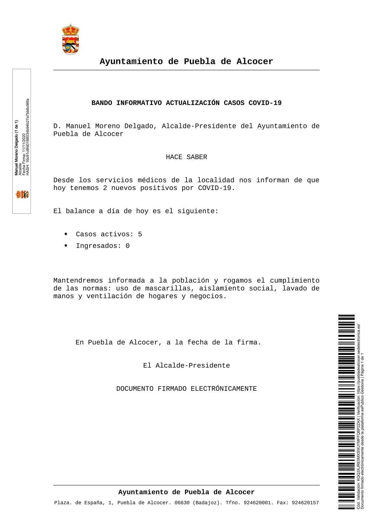 2 nuevos casos positivos de COVID-19 (noviembre 2020) - Puebla de Alcocer (Badajoz)