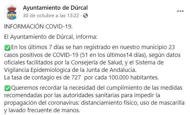 23 nuevos casos positivos de COVID-19 (octubre 2020) - Dúrcal (Granada)