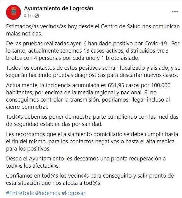 3 brotes, 13 casos activos y posible cierre perimetral por COVID-19 (noviembre 2020) - Logrosán (Cáceres)