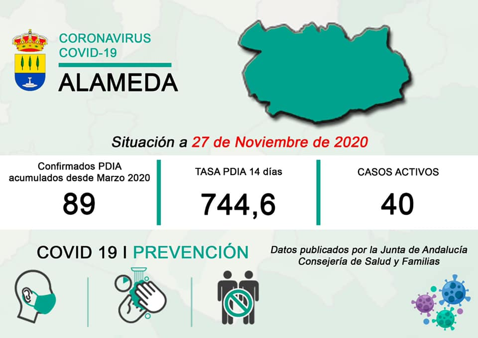 40 casos positivos activos de COVID-19 (noviembre 2020) - Alameda (Málaga)