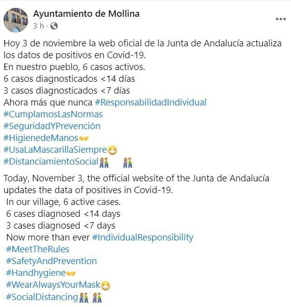 6 casos activos de COVID-19 (noviembre 2020) - Mollina (Málaga)
