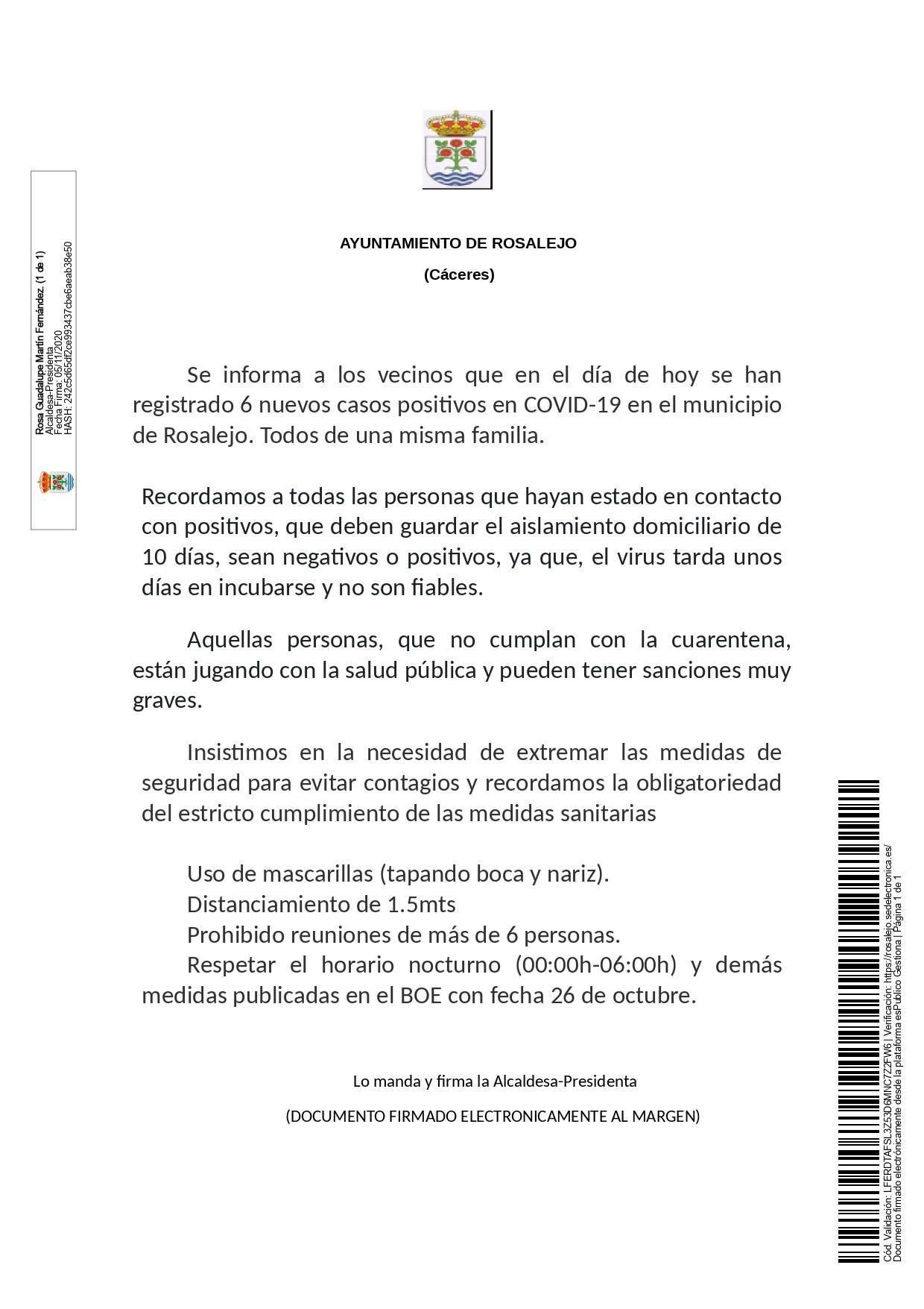 6 nuevos casos positivos de COVID-19 (noviembre 2020) - Rosalejo (Cáceres)