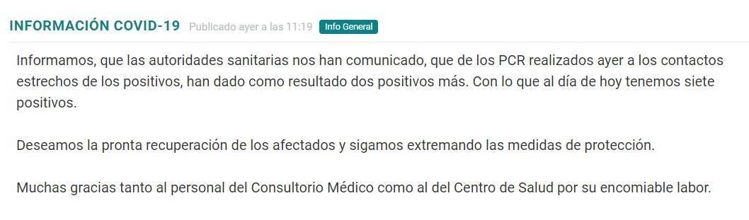 7 casos positivos activos de COVID-19 (noviembre 2020) - Torremocha (Cáceres)