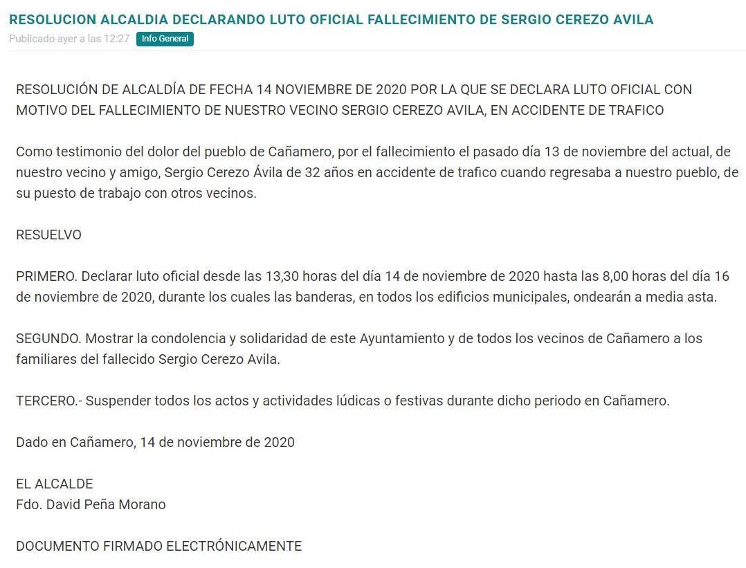Luto oficial por el fallecimiento de un vecino (noviembre 2020) - Cañamero (Cáceres)