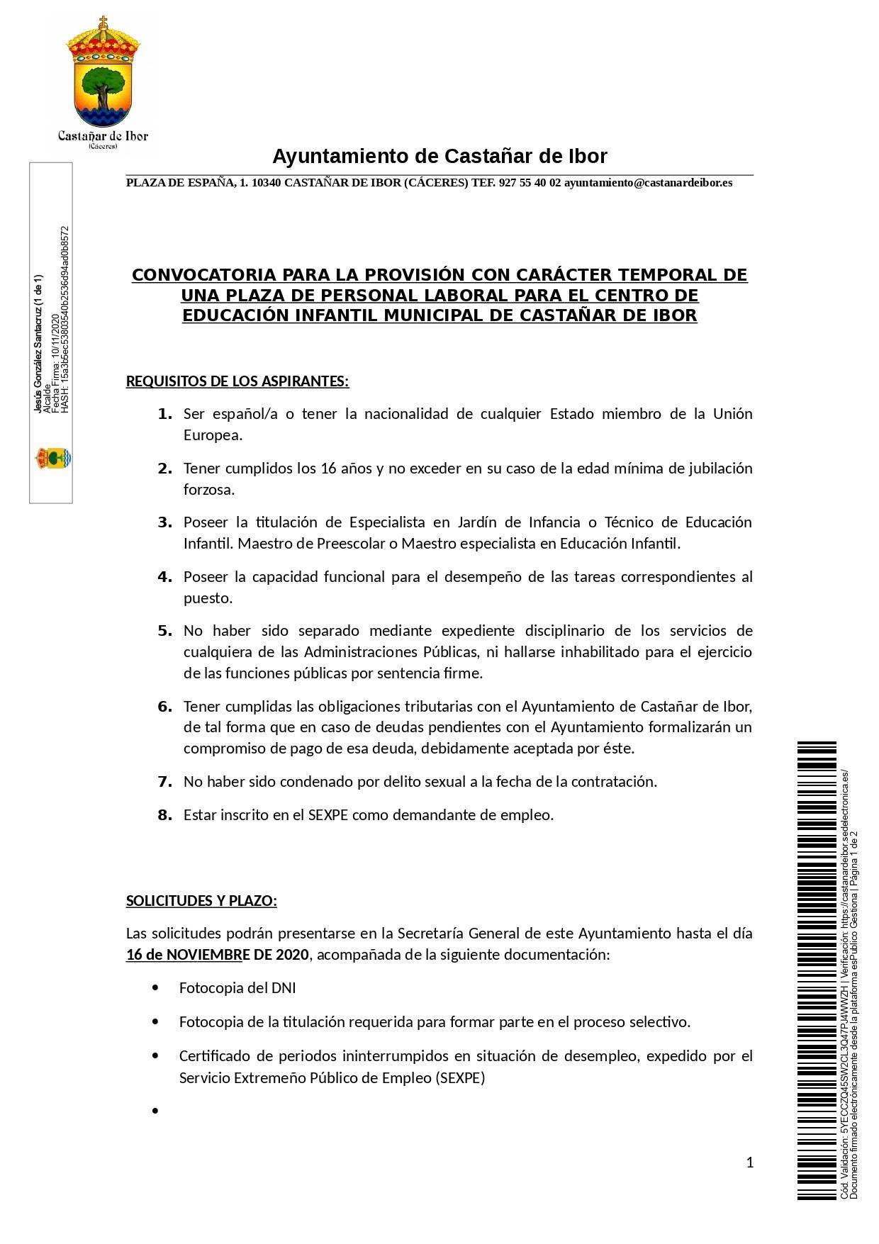 Maestro especialista en educación infantil (2020) - Castañar de Ibor (Cáceres) 1