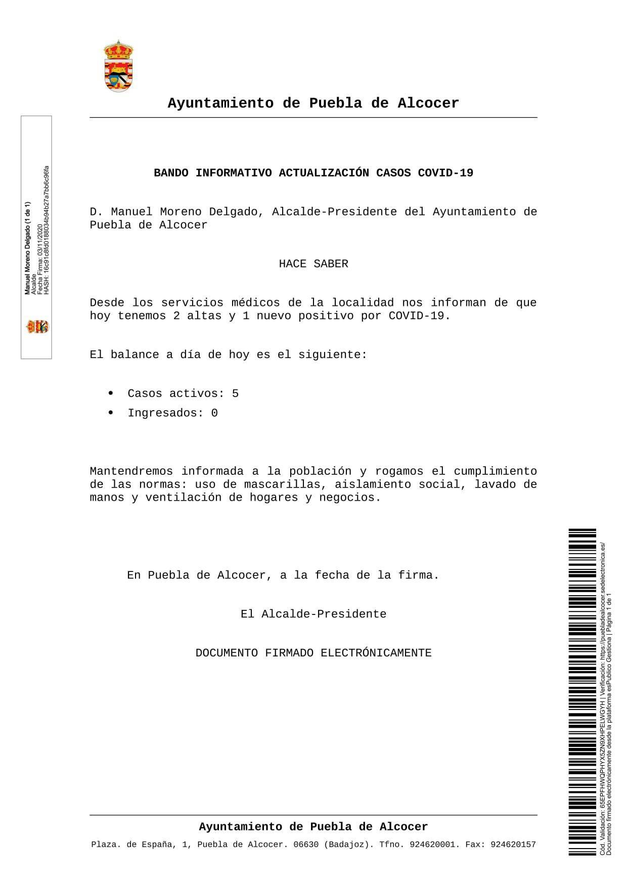 Nuevo caso positivo de COVID-19 (noviembre 2020) - Puebla de Alcocer (Badajoz)