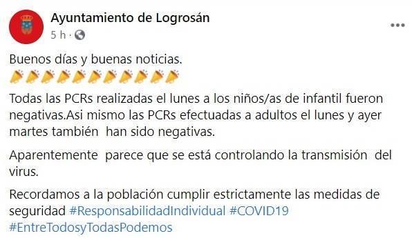 PCRs negativas de los niños-as de infantil (noviembre 2020) - Logrosán (Cáceres)
