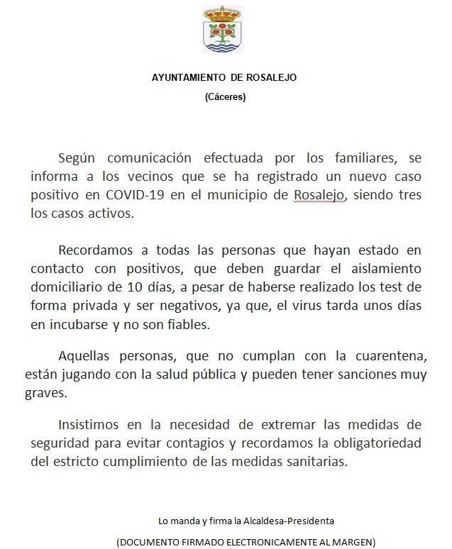 Un caso positivo de COVID-19 (octubre 2020) - Rosalejo (Cáceres)