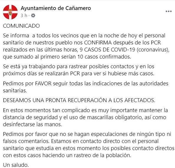 10 casos positivos activos de COVID-19 (diciembre 2020) - Cañamero (Cáceres)