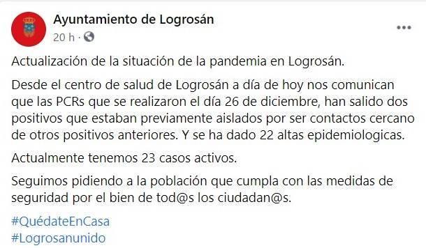 2 nuevos positivos y 22 altas de COVID-19 (diciembre 2020) - Logrosán (Cáceres)