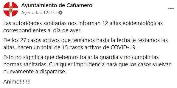 2 nuevos positivos y 22 nuevas altas de COVID-19 (diciembre 2020) - Cañamero (Cáceres) 1