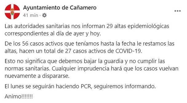29 nuevas altas de COVID-19 (diciembre 2020) - Cañamero (Cáceres)