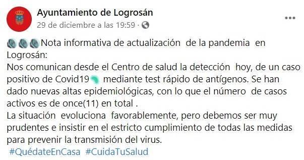 3 nuevos casos positivos de COVID-19 (diciembre 2020) - Logrosán (Cáceres) 1