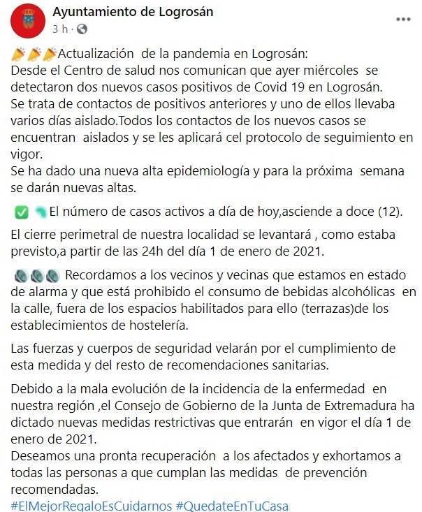 3 nuevos casos positivos de COVID-19 (diciembre 2020) - Logrosán (Cáceres) 2