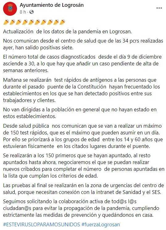 31 casos positivos activos de COVID-19 (diciembre 2020) - Logrosán (Cáceres) 1