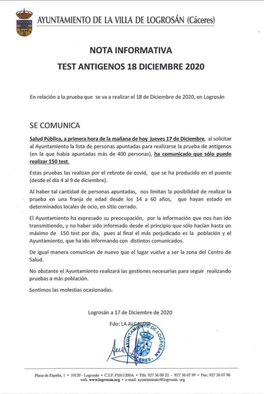 31 casos positivos activos de COVID-19 (diciembre 2020) - Logrosán (Cáceres) 2