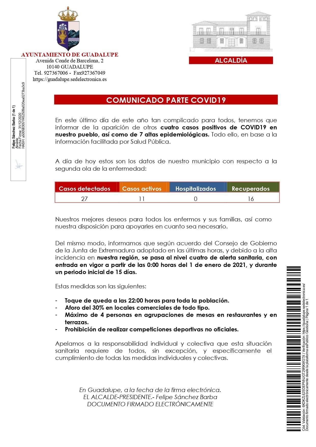 4 nuevos positivos y 7 altas de COVID-19 (diciembre 2020) - Guadalupe (Cáceres)