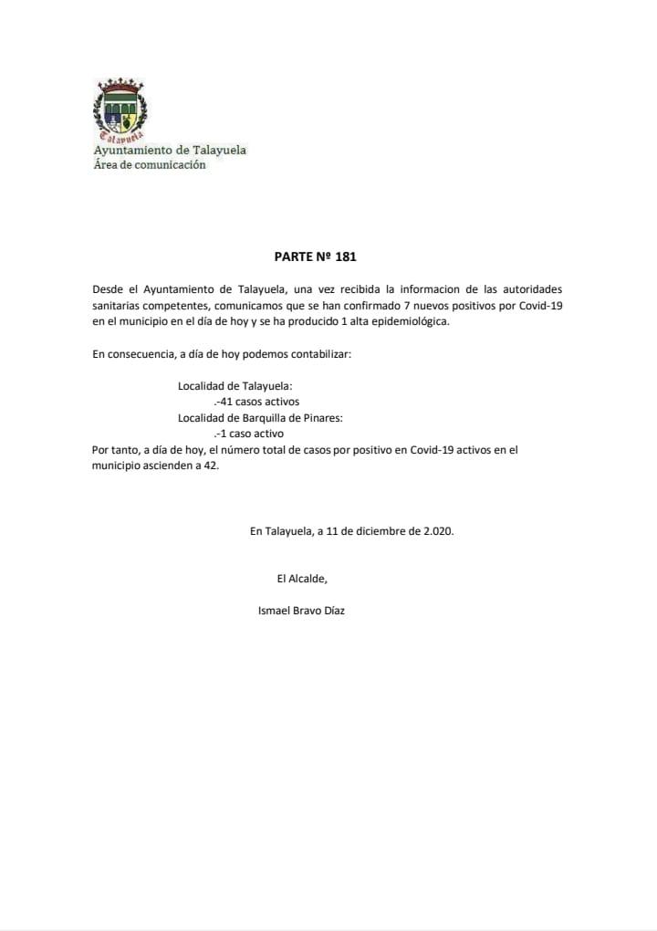 42 casos positivos activos de COVID-19 (diciembre 2020) - Talayuela (Cáceres)