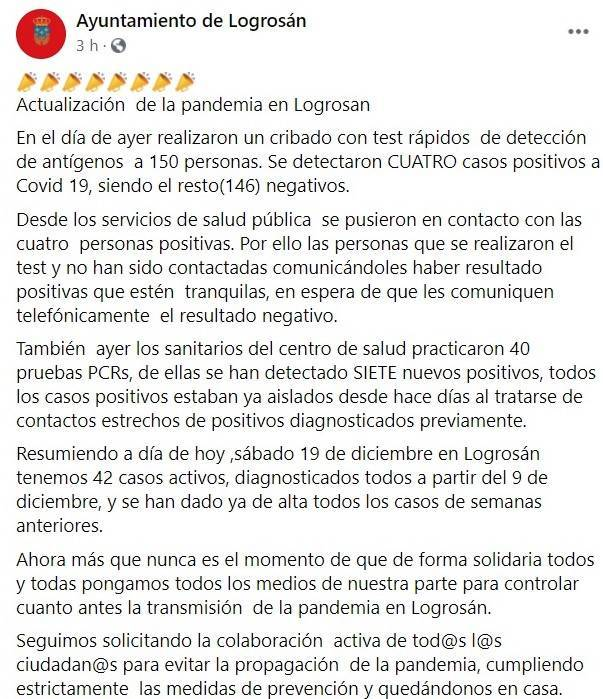 42 casos positivos de COVID-19 (diciembre 2020) - Logrosán (Cáceres)