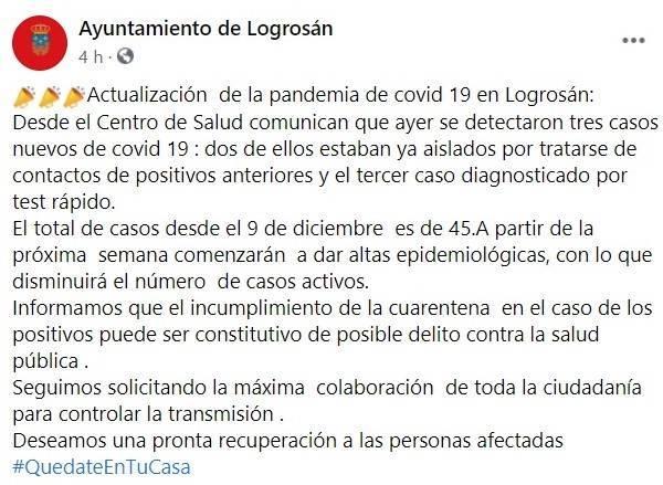 45 casos positivos activos de COVID-19 (diciembre 2020) - Logrosán (Cáceres)