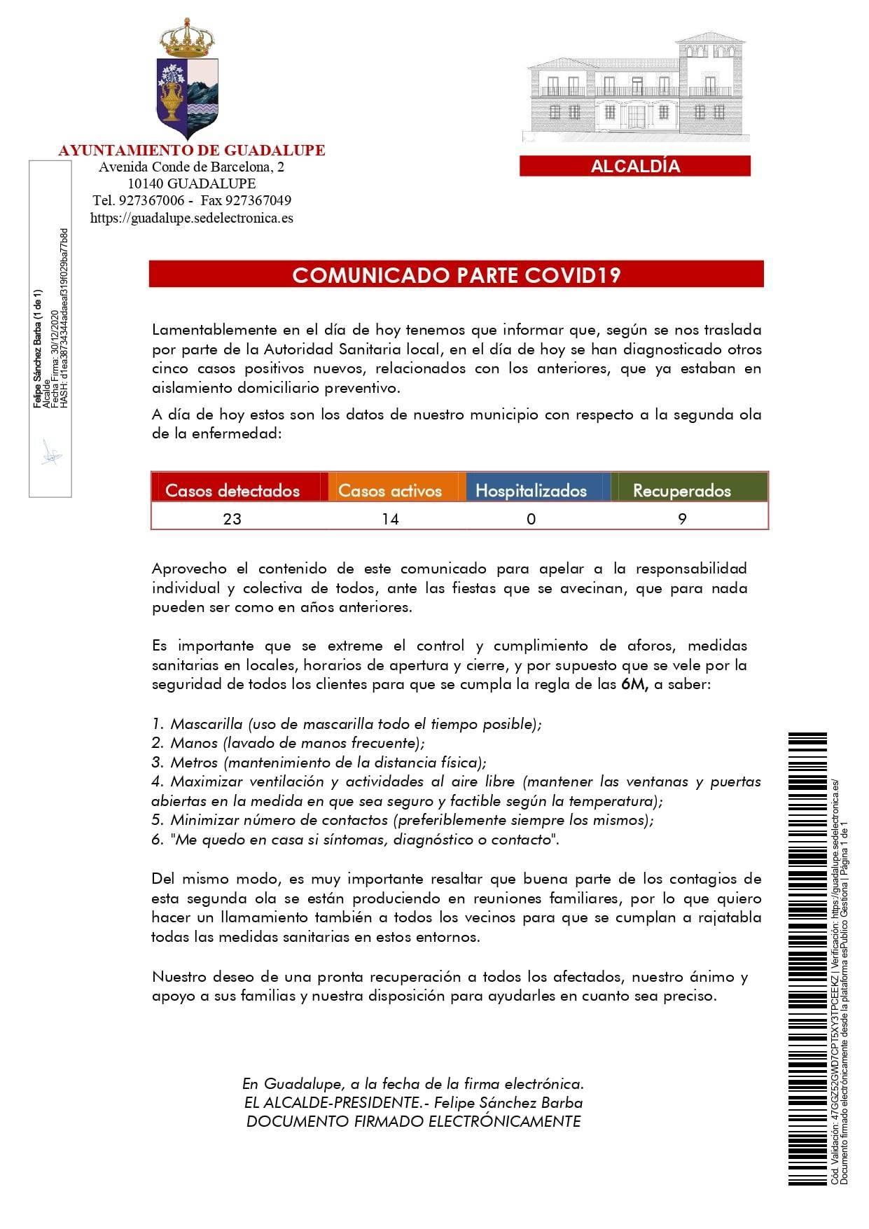 5 nuevos positivos y 3 nuevas altas de COVID-19 (diciembre 2020) - Guadalupe (Cáceres) 1