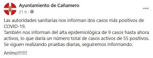 6 nuevos casos positivos y 12 altas de COVID-19 (diciembre 2020) - Cañamero (Cáceres) 1