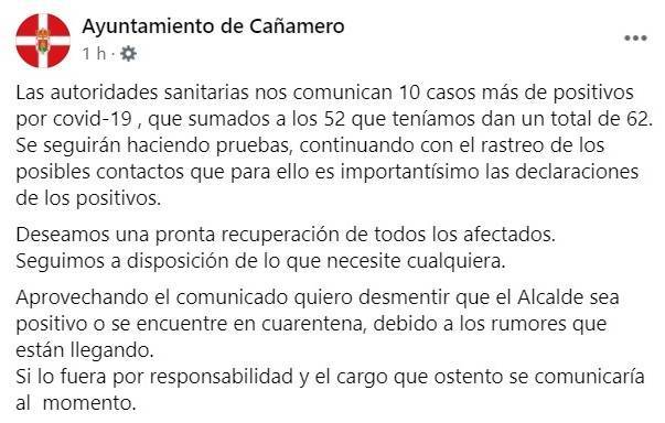 62 casos positivos de COVID-19 (diciembre 2020) - Cañamero (Cáceres)