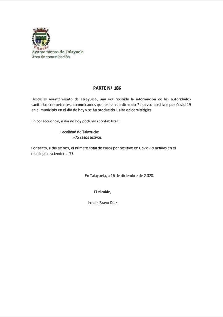 75 casos positivos activos de COVID-19 (diciembre 2020) - Talayuela (Cáceres)