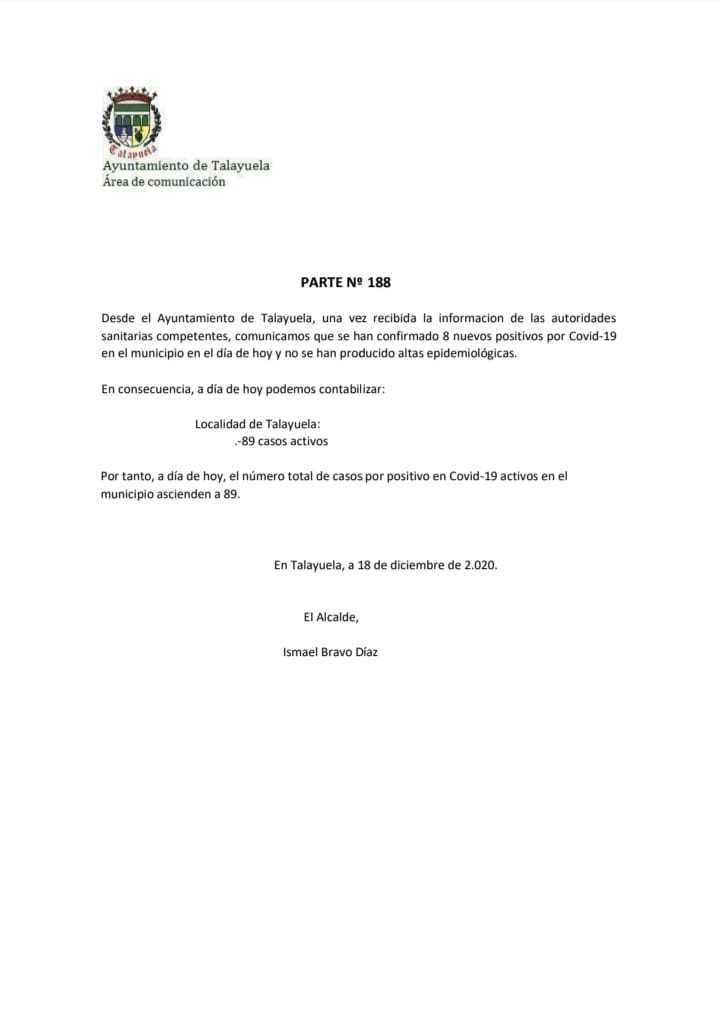 89 casos positivos activos de COVID-19 (diciembre 2020) - Talayuela (Cáceres)