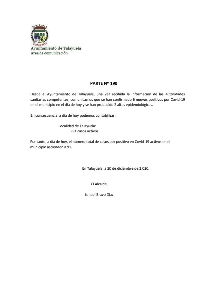 91 casos positivos de COVID-19 (diciembre 2020) - Talayuela (Cáceres)