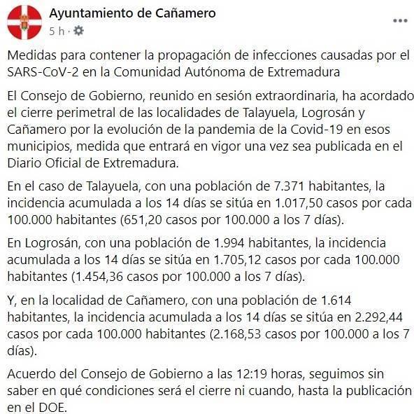 Cierre perimetral por COVID-19 (2020) - Talayuela (Cáceres), Logrosán (Cáceres) y Cañamero (Cáceres) 1