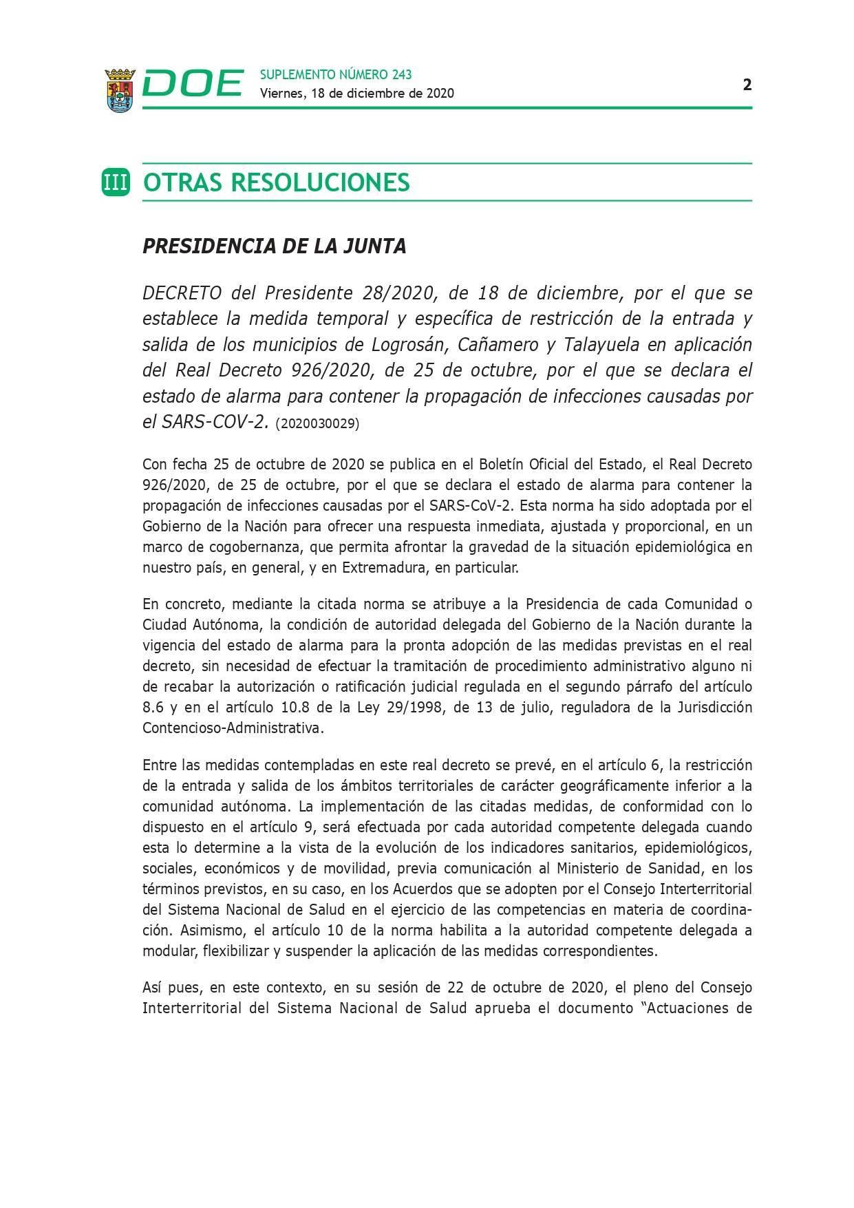 Cierre perimetral por COVID-19 (2020) - Talayuela (Cáceres), Logrosán (Cáceres) y Cañamero (Cáceres) 2