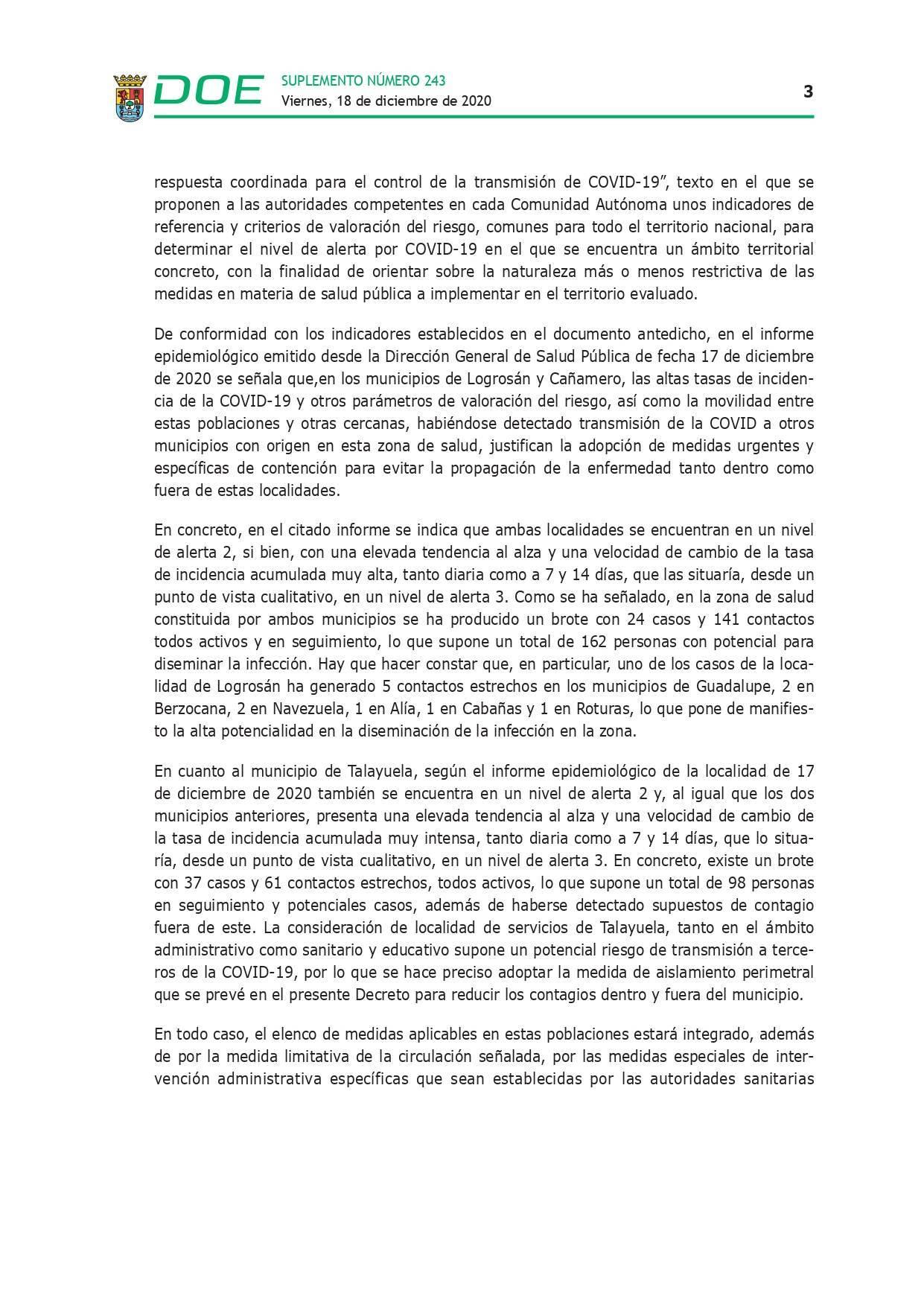 Cierre perimetral por COVID-19 (2020) - Talayuela (Cáceres), Logrosán (Cáceres) y Cañamero (Cáceres) 3