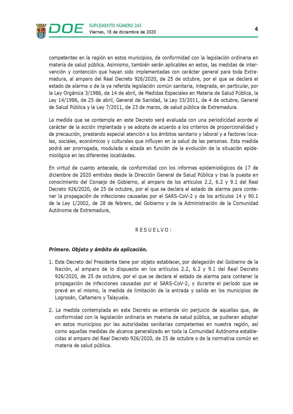 Cierre perimetral por COVID-19 (2020) - Talayuela (Cáceres), Logrosán (Cáceres) y Cañamero (Cáceres) 4