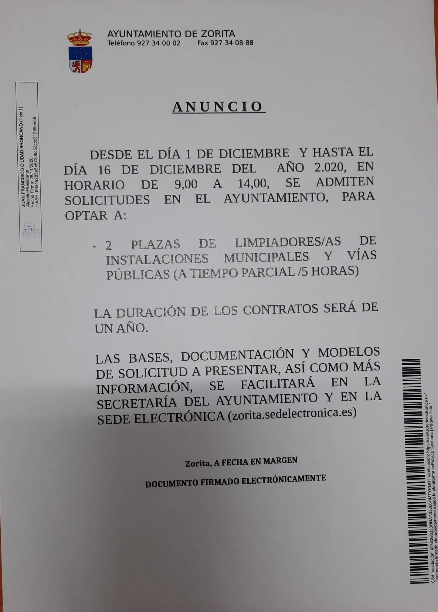 Dos plazas de limpiadores-as (2020) - Zorita (Cáceres)