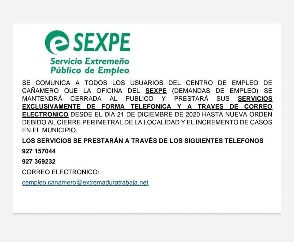 El SEXPE y SEPE cerrarán al público por el COVID-19 (diciembre 2020) - Cañamero (Cáceres) 1