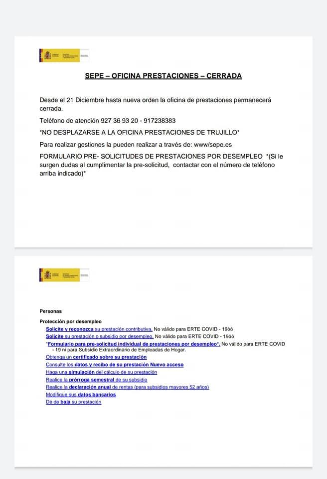 El SEXPE y SEPE cerrarán al público por el COVID-19 (diciembre 2020) - Cañamero (Cáceres) 2