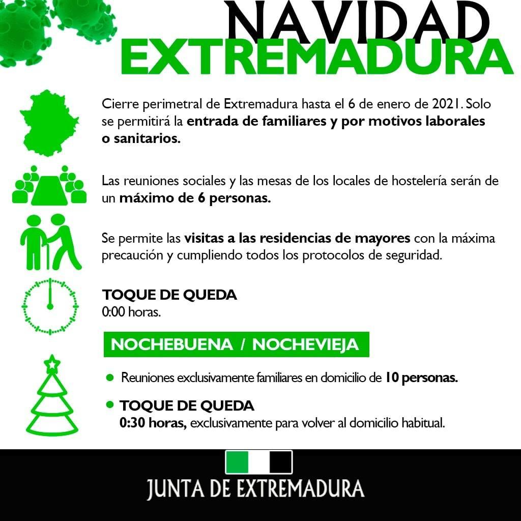 Normas COVID-19 Navidad (2020) - Extremadura