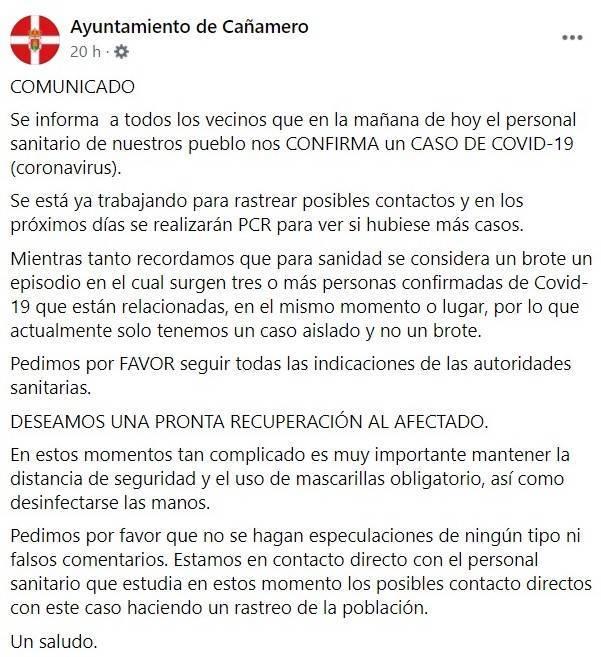 Nuevo caso positivo de COVID-19 (diciembre 2020) - Cañamero (Cáceres)