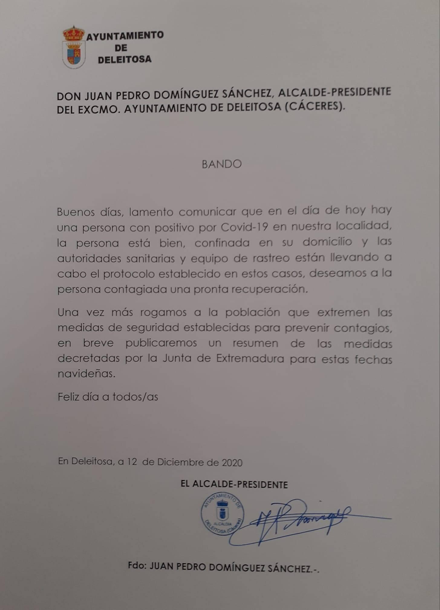 Un caso positivo de COVID-19 (diciembre 2020) - Deleitosa (Cáceres)