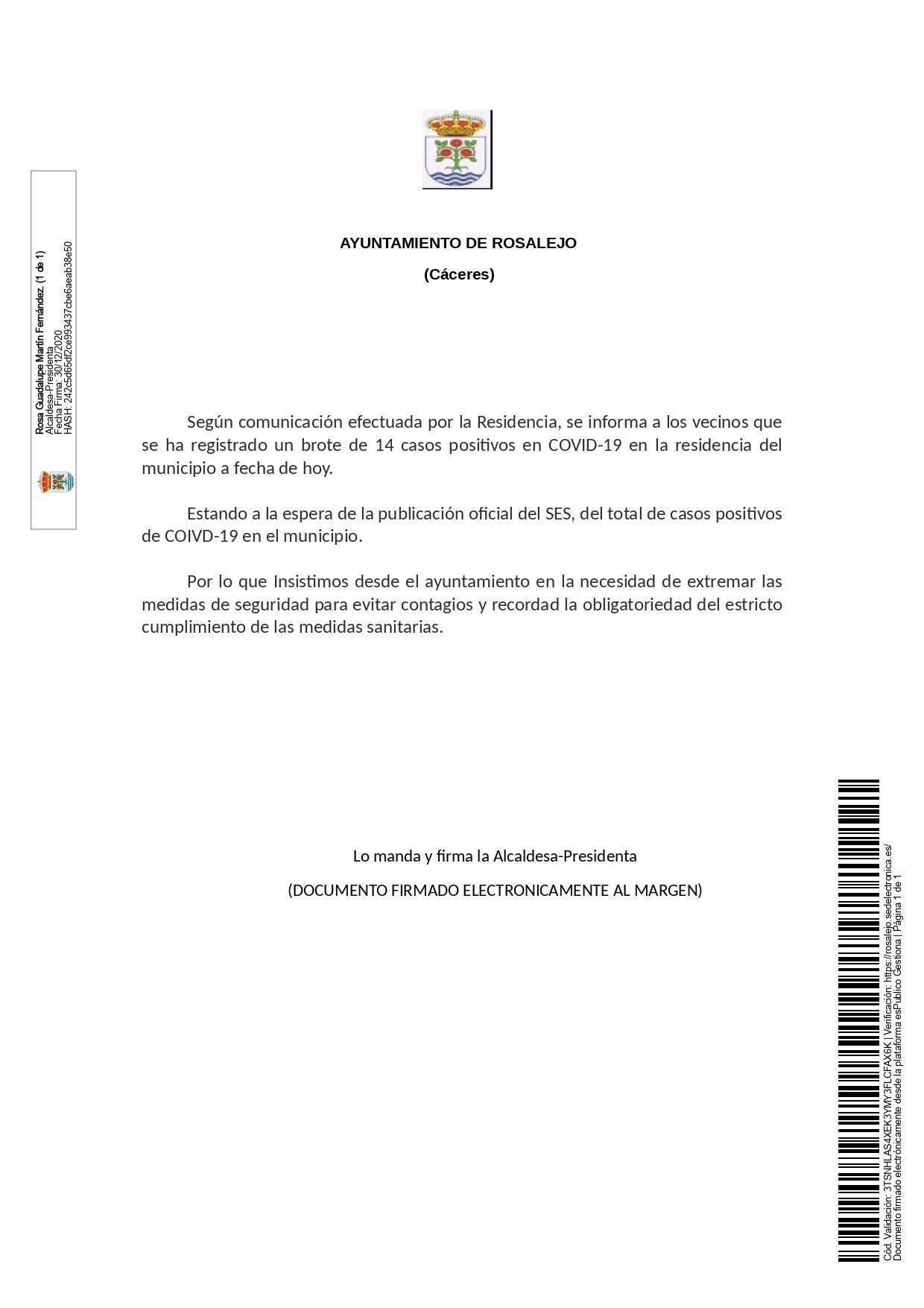 14 nuevos positivos y brote de COVID-19 (diciembre 2020) - Rosalejo (Cáceres)