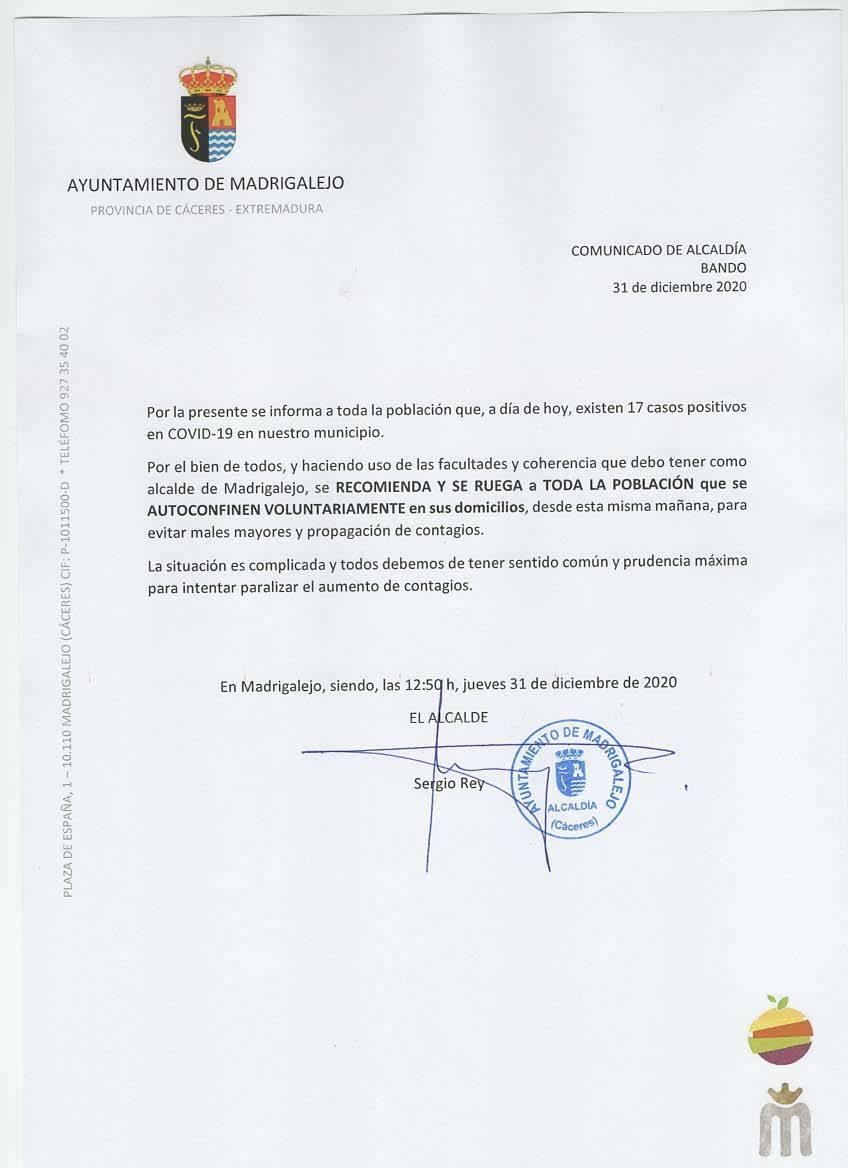 17 casos de COVID-19 y confinamiento voluntario (diciembre 2020) - Madrigalejo (Cáceres)