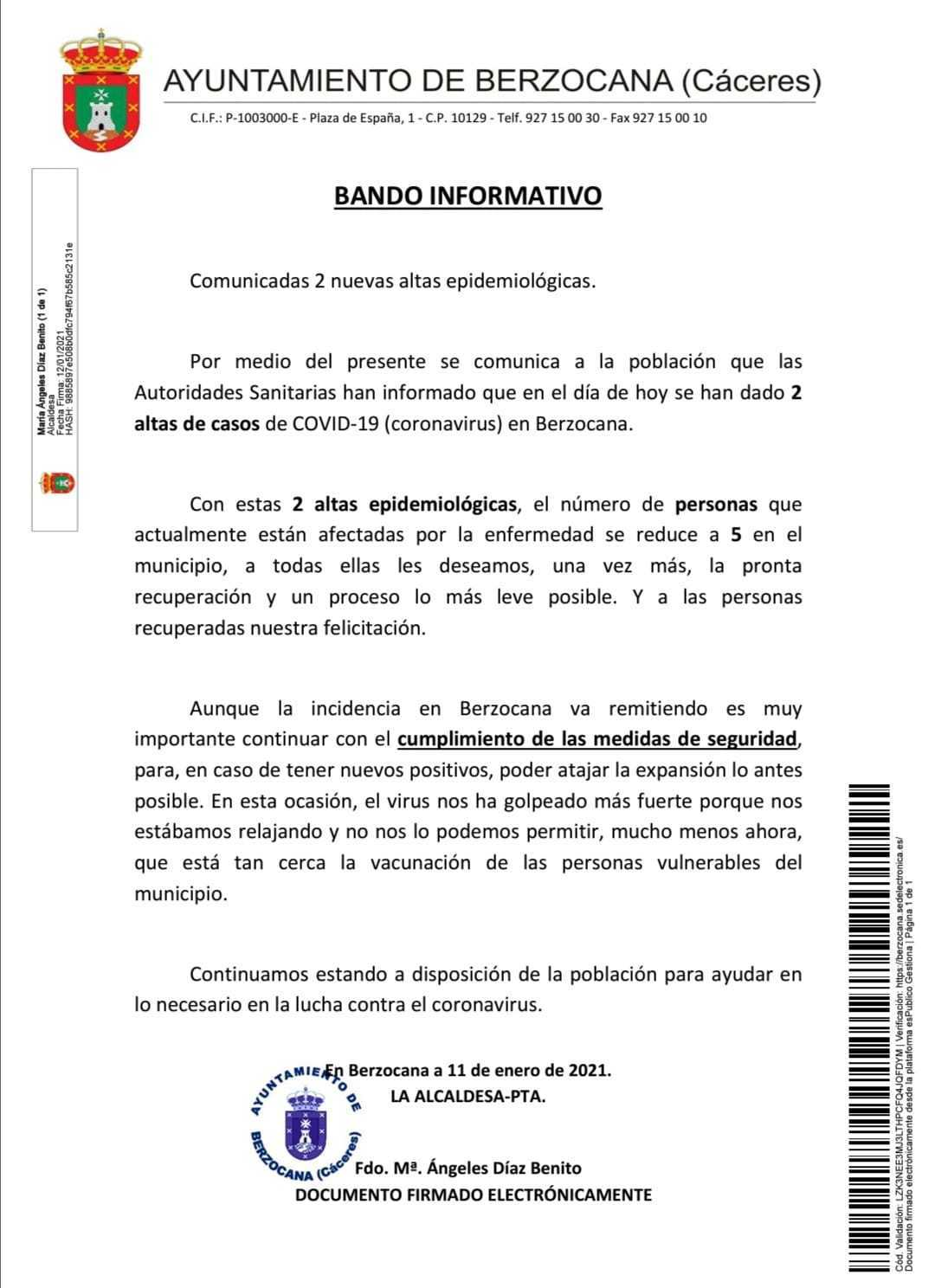 2 nuevas altas de COVID-19 (enero 2021) - Berzocana (Cáceres)
