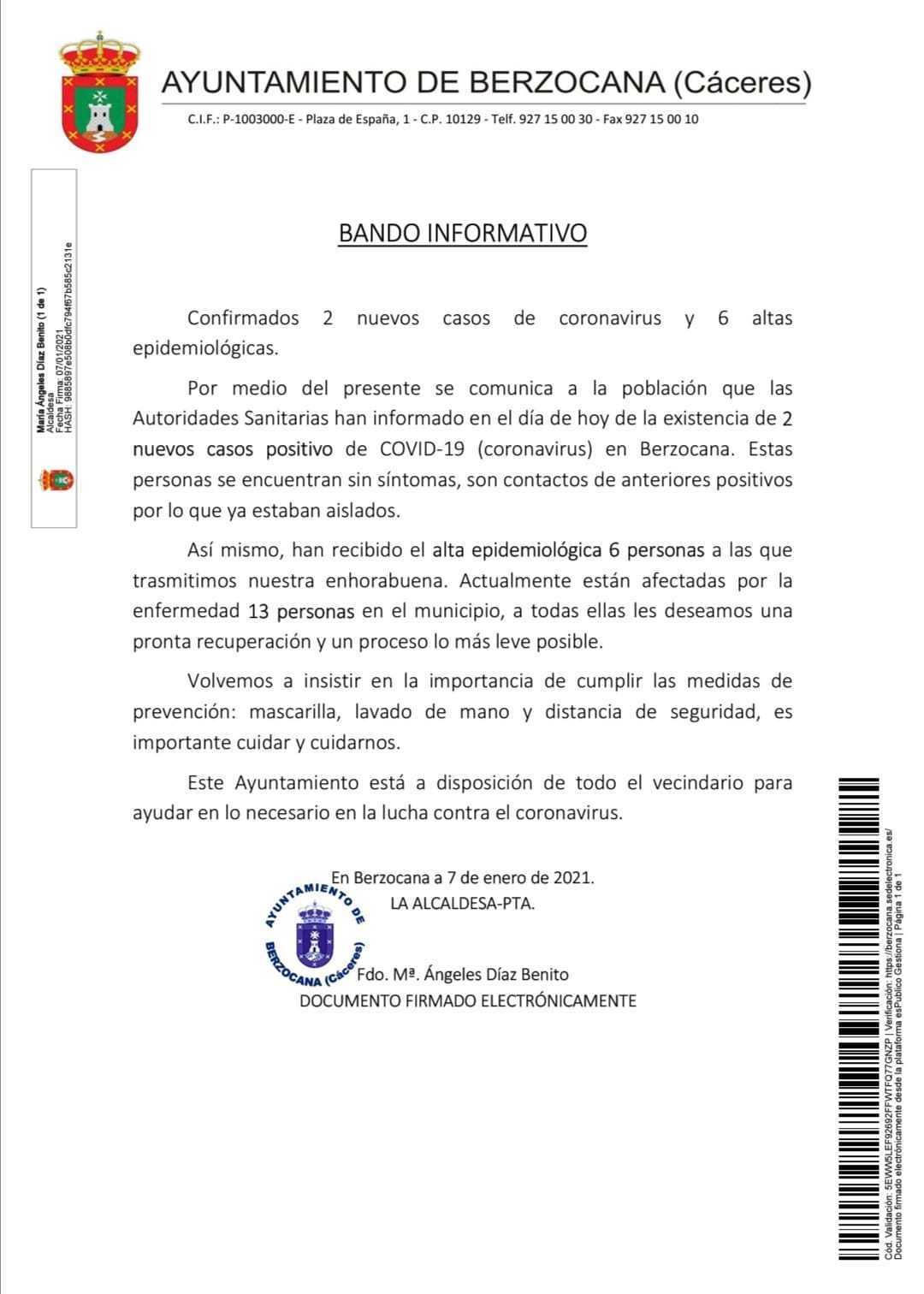 2 nuevos casos positivos de COVID-19 (enero 2021) - Berzocana (Cáceres)