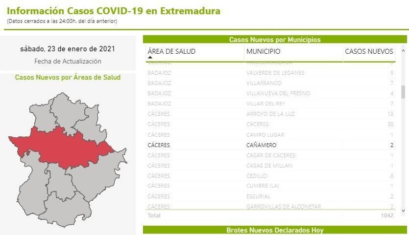2 nuevos casos positivos de COVID-19 (enero 2021) - Cañamero (Cáceres)