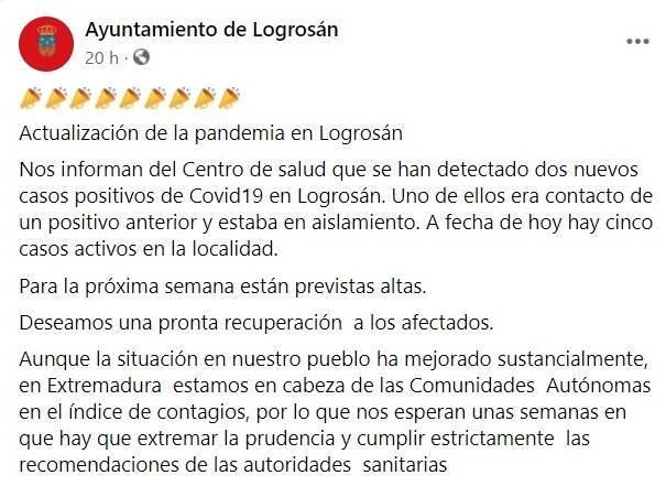 2 nuevos casos positivos de COVID-19 (enero 2021) - Logrosán (Cáceres)