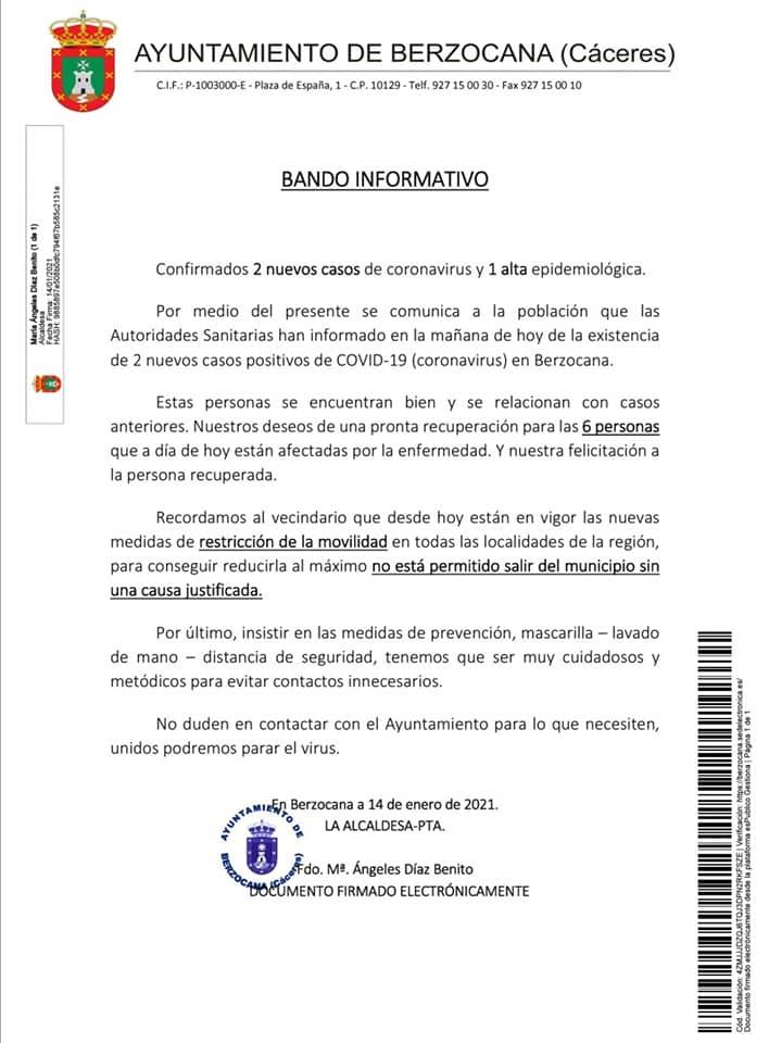 2 nuevos casos y 2 nuevas altas de COVID-19 (enero 2021) - Berzocana (Cáceres) 1