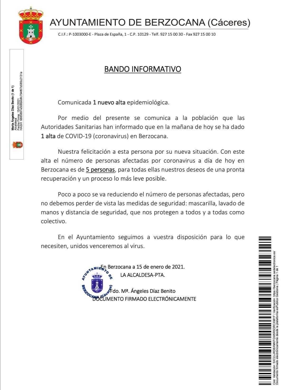 2 nuevos casos y 2 nuevas altas de COVID-19 (enero 2021) - Berzocana (Cáceres) 2